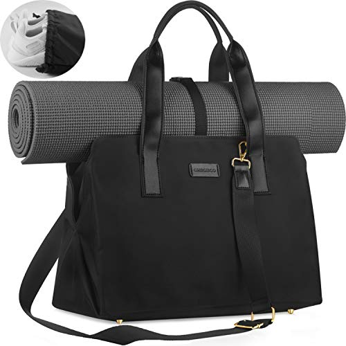 CHICECO Travel Yoga Gym Bag for Women, work tote bag,2 x Separate shoe bag,Wet Dry Storage Pockets,Carryall Sports Duffle Bag, Black(Yoga Mat Not Included)