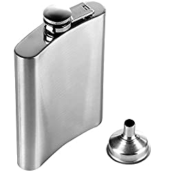 Stainless Steel Hip Flask with Funnel, 8 oz