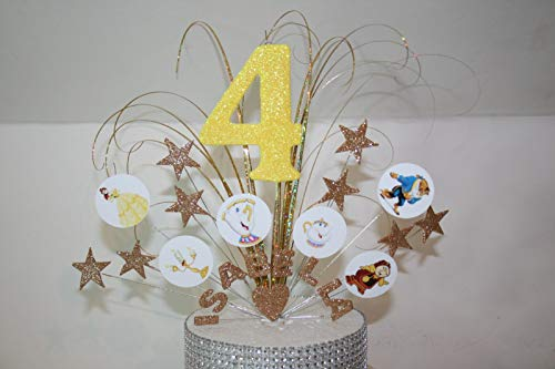 Stars on wires Beauty & The Beast Glittered/Non Glittered Cake Topper Cake Decoration personalised 1st 2nd 3rd 4th 5th 6th 7th 8th 9th 10th any age any colours 001