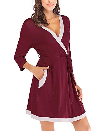 MINTLIMIT Damen Kimono Saunamantel Bademantels Spliced Color Nachthemden Frau Bademantel Einfarbig Stricken Lounge Kleid(Size M,Weinrot)