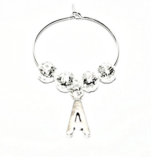 Personalised Silver Plated Wine Glass Charm~Letter A~Plus Free Gift Card ~Weddings~Hen Party~Birthday Party~Table Decorations~by Just Say Beads