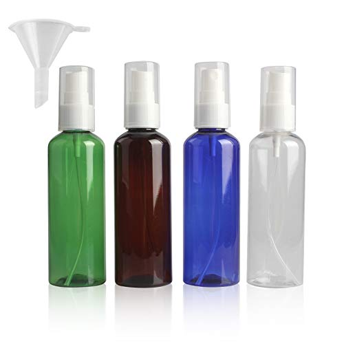 Zeaye botella de spray de 4 piezas atomizador de plástico transparente vacío juego de botella de spray cosmético de niebla fina, (100 ml, 4 colores)