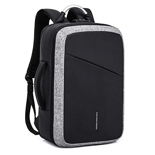 Hu-bag Anti-Diebstahl-Rucksack, Männer Business-Laptop Daypack Mit USB-Anschluss Aufladen, Passend Für 15,6-Zoll-Notebook-Computer-Rucksack Für Arbeit Hochschule,Grau,46 * 17 * 31cm