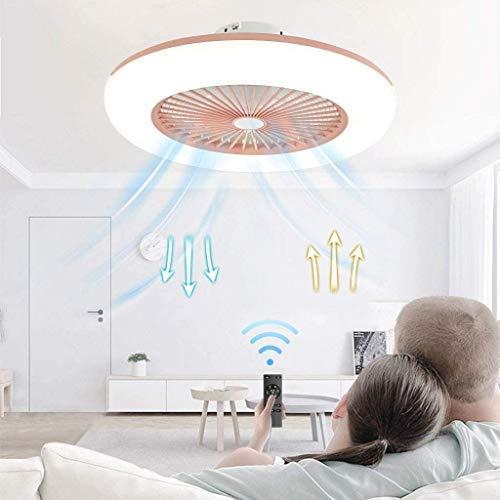 QTWW Ventilador de Techo con luz, sin escalonamientos, Regulable con Control Remoto, Ventilador de Techo Moderno de 3 velocidades, Luces, Comedor, Dormitorio, Sala de Estar, lámpara de Techo