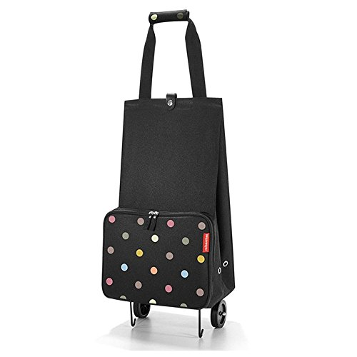reisenthel foldabletrolley HK7009 dots – Faltbarer Trolley mit 30l Volumen zum Einkaufen – Einklappbare Räder – B 29 x H 66 x T 27 cm