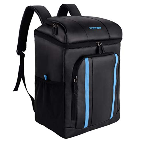 TOPNEW Insulated Cooler Backpack Leakproof Cooler Bag 25 Cans, Large Capacity Lightweight Lunch Backpack for Men, Women, Perfect for Camping, Hiking, Beach and Picnic