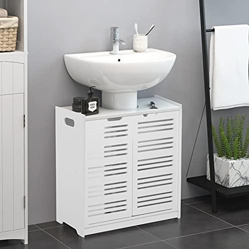 Mobile per Bagno Sottolavabo, Mobiletto per Lavandino, Mobile da Terra Bagno, Mobiletto Multiuso con Doppia Anta, Bianco, 60 x 30 x 60 cm