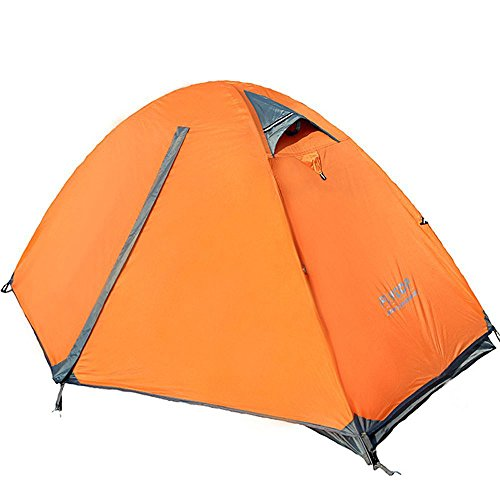 FLYTOP 3-4 Season Camping Tent 1-2-person Double Layer Backpacking Tent with Carry Bag Aluminum Rod Windproof Waterproof for Camping Hiking Travel Climbing - Easy Set Up (Orange-Single Person)