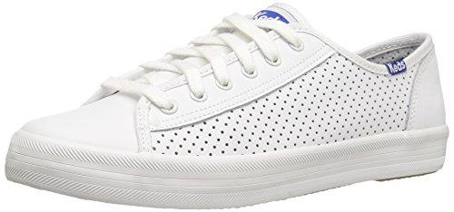 Keds Women's Kickstart Retro Court Perf Leather Fashion Sneaker, White/Blue, 10 M US