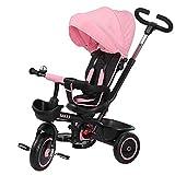 BAKAJI Triciclo Passeggino per Bambini a Pedali e Spinta 3in1 con Sediolino Girevole a 360 Gradi Direzione Mamma Imbottito Cinture di Sicurezza Maniglione Direzionabile e Tettuccio