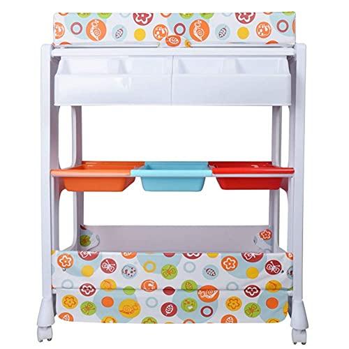 Table à Langer pour Salle de Bain garderie, Station de Bain pour poupées avec étagère de Rangement, Baignoire, Coussin imperméable, Support 50 kg