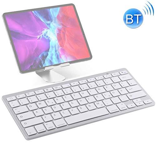 Tastatur WB-8022 Ultra-dünne drahtlose Bluetooth Tastatur for iPad, Samsung, Huawei, Xiaomi, Tablet-PC oder Smartphones, Deutsch Keys (Silber) (Farbe: Silber) xiao1230 (Color : Silver)
