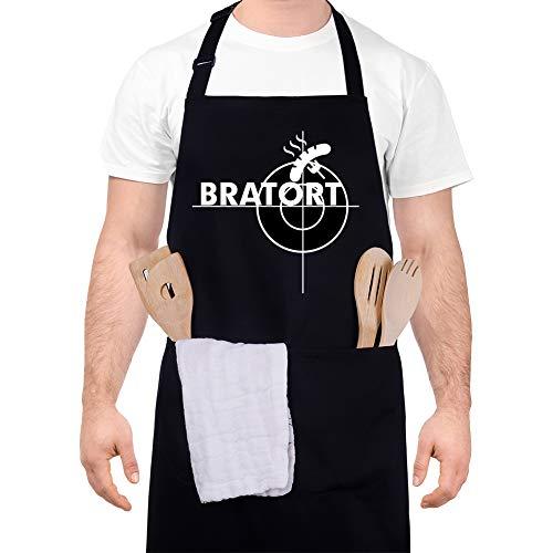 adakel Grillschürze Schwarz, Arbeitsschürze & Kochschürze Lustiges Geschenk für Männer und Hobbyköche zum Vatertag Weihnachten Geburtstag oder Grillparty - Bratort