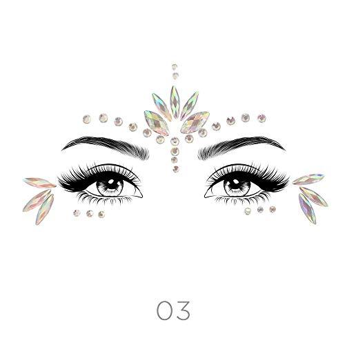 (STYLE 03) - Glamza Face Crystal Sticker 6 Gems Set Women Mermaid Rave Festival Glitter Rhinestone Temporary Tattoo Face Jewels Face Sticker Eyebrow F