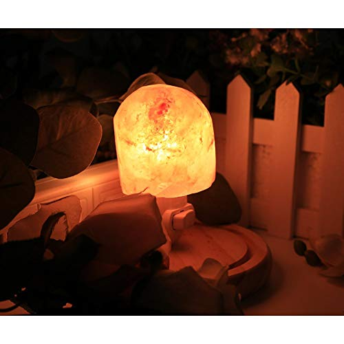 Natural Himalayan Salt Lamp Night Lights,Hand Carved Crystal Salt lamp Plug in with 2 Pack 7W Incandescent Bulbs and 2 Color Change LED Bulbs On/Off Switch (Colorful Salt Night Lights Two Pack)