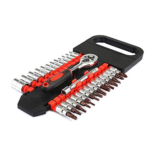 KANJJ-YU Herramientas 28pcs tubo de doble hilera de trinquete Juego de llaves de 1/4 pequeña mosca Reparación de herramientas llave de tubo mano del sistema de herramienta útil for la reparación de au