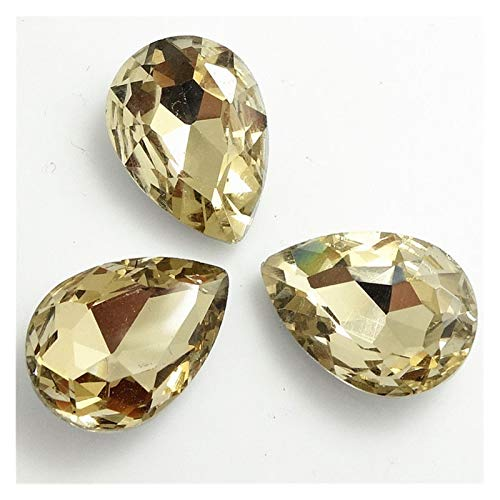ZHAO Faceted Crystal Glass Rhinestones Teardrop Loose Beads Jewelry 7x10/10x14/13x18/18x25/20x30mm (Color : Light coffee, Size : 7x10mm 20pcs)