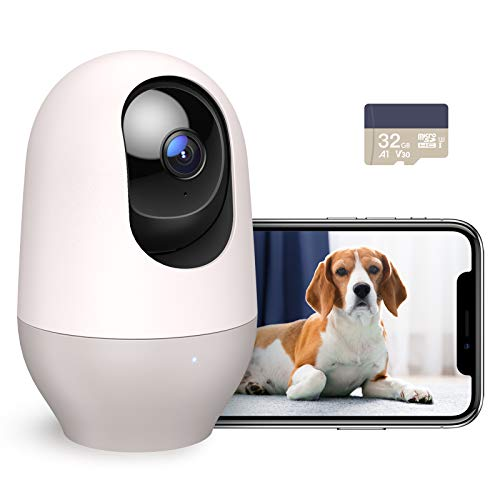 Nooie Dog Camera with Phone App, WiFi Pet Camera with SD Card, Indoor Home Security Camera for Pet/Baby/Nanny, with AI Tracking, IR Night Vision, Works with Alexa, 2-Way Audio