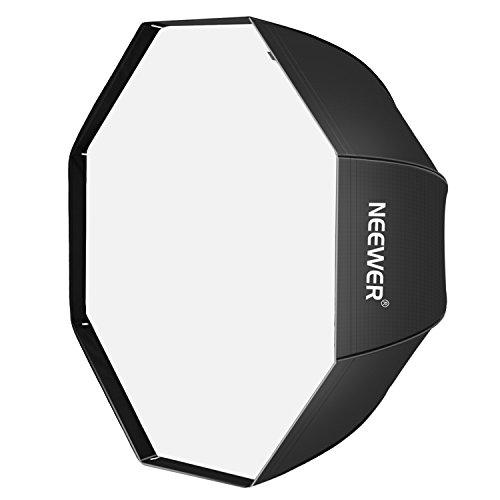 Neewer Flash de estudio, paraguas octagonal, macro/anular ventana de luz Softbox, con bolsa de transporte, para fotografía de retrato o de producto, 32 pulgadas / 80 cm, negro y plateado