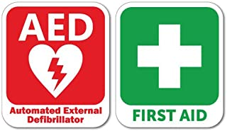AED Defibrillator & First Aid Sticker Decal Safety Sign Car Vinyl