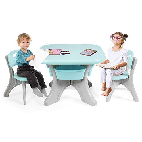 Goplus Set di Tavolo con 2 Sedie per Bambini con 4 Contenitori, Tavolino e Sgabelli in Plastica, Robusto e Facile da Pulire, Facile Montaggio (Menta Verde)