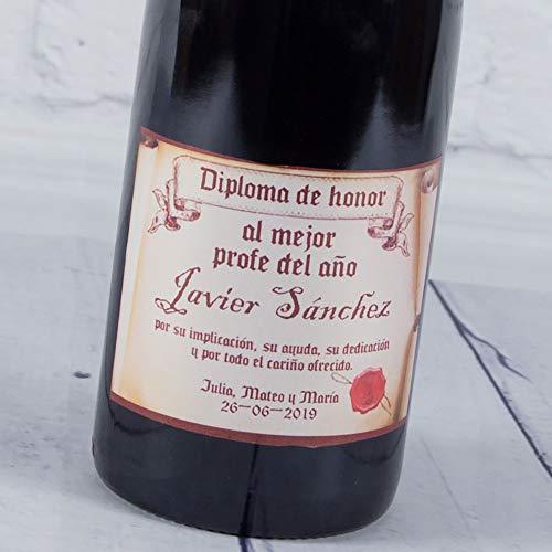 Calledelregalo Regalo Personalizable para Profesores: Botella de Vino 'Diploma de Honor' al Mejor profe del año Personalizada con Nombre, dedicatoria, Firma y Fecha (Botella Diploma de Honor)