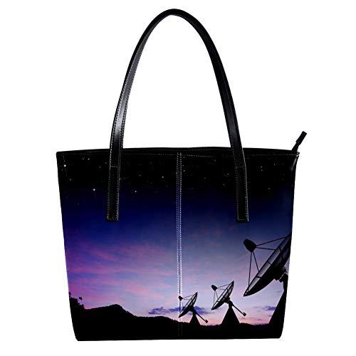 TIZORAX Sternenhimmel-Satellitenschüssel für Damen, PU-Leder, modische Handtasche mit Tragegriff oben