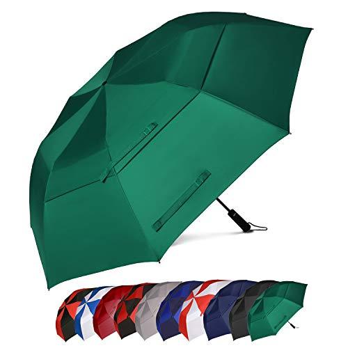 Eono by Amazon - 147cm Automatische Öffnen Golf Schirme Golf Umbrellas Foldable Golf Regenschirm, Extra große Golfschirme, Winddicht wasserdichte Stock Regenschirme, Grün