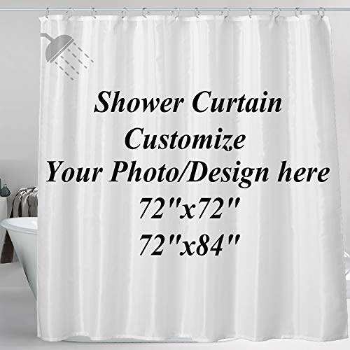 COOWAS Custom Shower Curtain with Hooks Waterproof, Upload Your Image/Photo to Bathroom Hotel Decor Personalized Customize Design Wedding Family Picture 72x84 inch