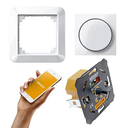 idinio Regulador inteligente WiFi 3 vías. Set completo con Merten 1-M blanco polar brillo. LED 5-180W Hal/Inc 10-300W. Control por app, interruptor y voz. Empotrable con garras de fijación