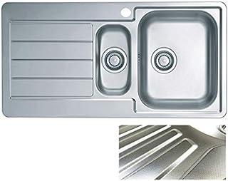 VBChome: Einbauspüle mit Hahnloch 980 x 500 mm Camping Abtropffläche Links Küchenspüle - Leinenstruktur Alveus Line 10 Spülbecken EDELSTAHL Camping 1,5 Becken Ablaufgarnitur