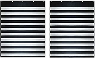 """Two (2) Pack - Standard Sized Classroom Pocket Chart – by Essex Wares – for Teacher Lessons in a Classroom or for Use at Home – Fits Standard 3"""" Sentence Strips and Cards (Black)"""
