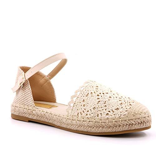 Angkorly - Damen Schuhe Sandalen Espadrille - Flache - Böhmen - Ehe Zeremonie - Spitze - Seil - mit Stroh Flache 2.5 cm - Beige 4 LX201 T 38