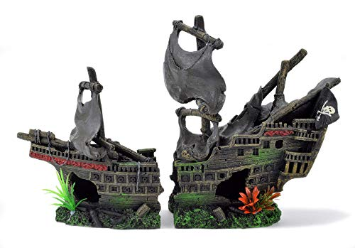 Aquarium Deko Piratenschiff Kriegsschiff Piraten Flagge Schiff Boot Wrack XXL 40 cm
