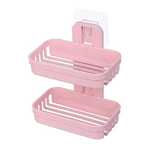 CZFSKCZ Jabonera Baño, Capas de Doble Capa Caja de jabón Herramientas de Cocina Accesorios de baño Strong Lucker Soapbox Jabón Drenaje Soporte de jabón Platos de jabón Agua litera (Color : Pink)
