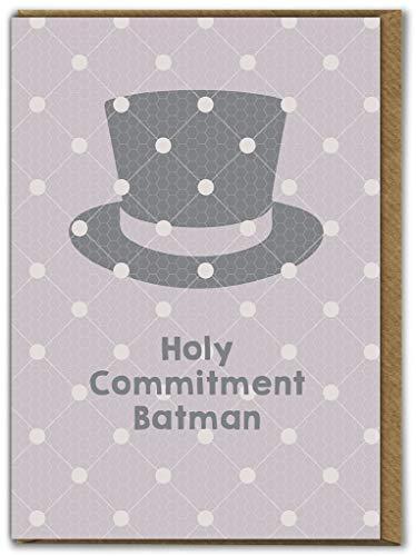 Grappige Humorous 'Holy Commitment Batman' trouwkaart