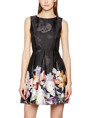 MISS SELFRIDGE Damen Kleid Digital Floral Prom, Schwarz, 36