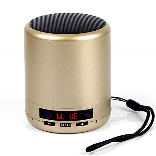 Mini draagbare Bluetooth luidsprekerzuil draadloze subwoofer stereo ondersteuning USB TF-kaart spelen met microfoon voor telefoon, goud