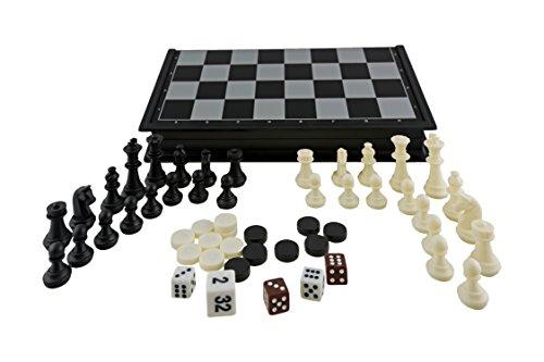 Aquamarine Games - Ajedrez, Damas y Backgammon, magnético (CP024)
