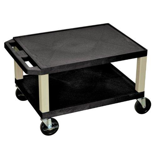 H Wilson Luxor 16'H AV Cart - Two Shelves - Black Legs