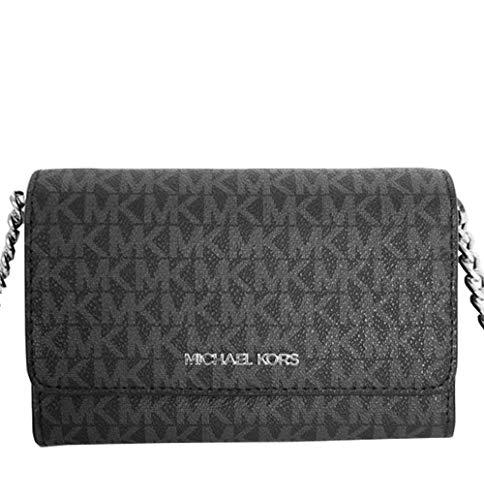 Michael Kors Women's 35F0GTVC8B Jet Set Travel Medium Multifunction Phone Xbody Crossbody Bag Wallet (Black)