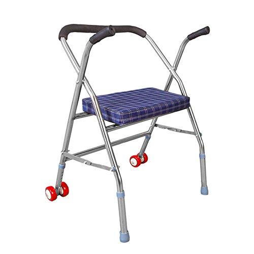 Guo shop- Ayudas que caminan multifuncionales con las ruedas perjudicadas, asiento plegable mayor