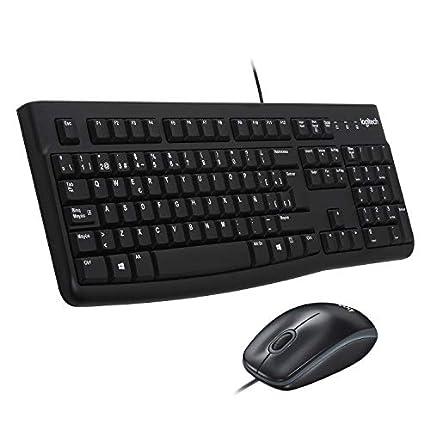 Logitech MK120 Combo Teclado y Ratón con Cable para Windows, Ratón Óptico con Cable, Conexión USB Plug And Play, Cómodo, Tamaño Normal, PC/Portátil, Disposición QWERTY Español, color Negro