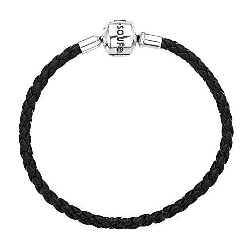 Soufeel Unisex Armband Lederarmband mit 925 Sterling Silber Kugel Verschluss passt für Charms Beads Anhänger Geschenk für Feiern Geburtstag Weihnachten 20cm Schwarz
