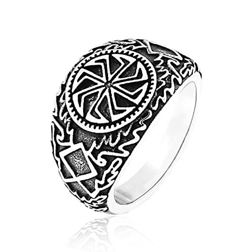 GXY&YT Anillo de rueda de símbolo solar celta vikingo, amuleto de acero inoxidable, joyería pagana eslava nórdica, 12