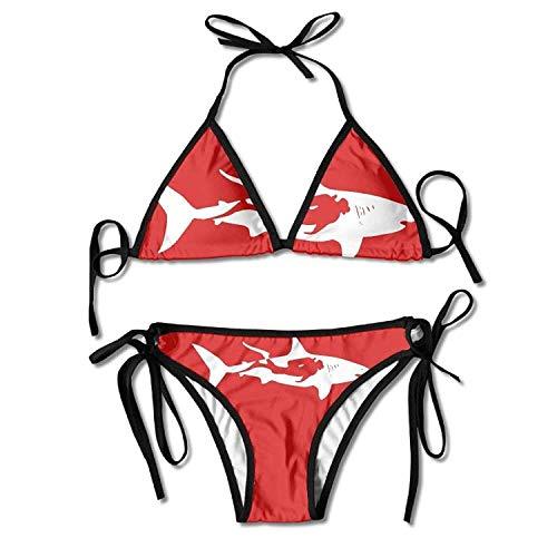 Sexy Women Shark Scuba Diver Two Piece Bikini Set Swimsuit Beach Swimwear