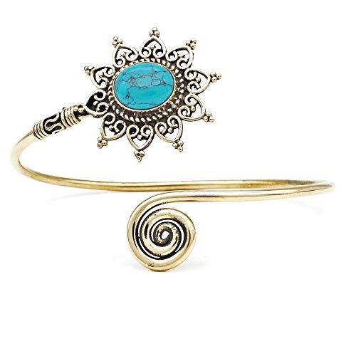 mantraroma Armreif Armband Messing golden Türkis blau grün (932-05-022-15)