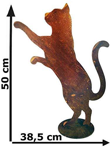 itsisa ® Dekofigur neugierige Katze mit Platte im Rost Design, Rostfigur für den Garten, Gartendeko, Metallde