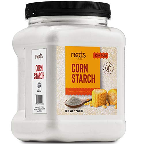 Roots Circle 100% Pure Corn Starch | 1 [17oz] Airtight Container | All Natural Thickener for Soups, Stews, Gravy, Baking Pies, Puddings & Cakes | Gluten-Free, Non-GMO, Vegan, Kosher, Food-Grade