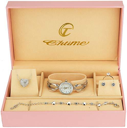 Cofanetto Orologio Donna - Parure di gioielli- Collana-Anello- Orecchini - Cinturino